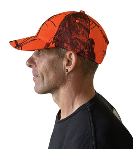mens mossy oak break up realtree edge flat curved structured unstructured blaze orange camo cap hat