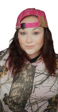 Load image into Gallery viewer, womens ladies muddy girl realtree real tree mossy oak hot blaze inferno pink camo cap hat visor scrunchie tee