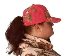 Load image into Gallery viewer, mossy oak realtree muddy girl blaze orange pink camo camouflage hair ponytail holder scrunchie scarf trucker hat cap visor