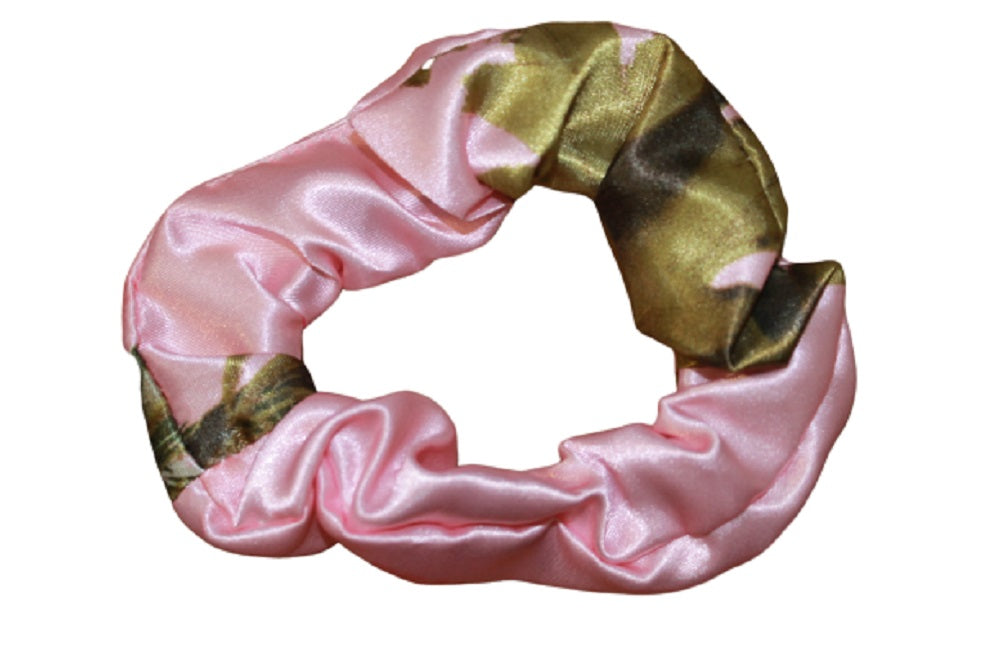 Realtree Pink Camo Scrunchie SATIN Ponytail Holder Elastic Tie Hair Band