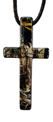 mossy oak realtree real tree true timber camo cross necklace pendant jewelry graduation congratulations holiday birthday christmas fathers mothers day gift for men women