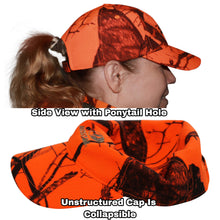 Load image into Gallery viewer, mossy oak realtree edge break up blaze orange camo truck trucking womens mens unstructured muddy girl hunting safety cap hat visor apron cross jewelry necklace