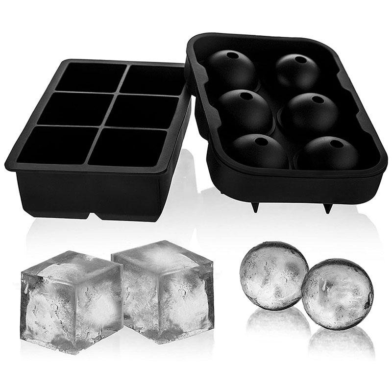 2 Set Ice Cube Trays With Silicone Funnel Reusable and BPA Free rockiyo