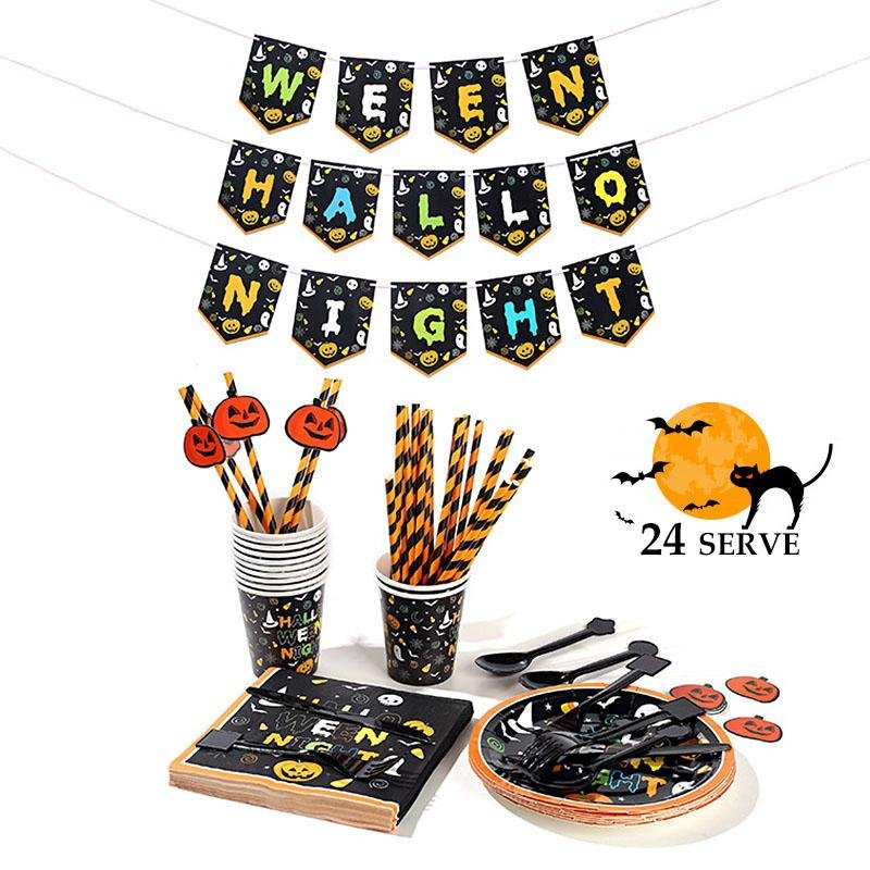 Halloween Party Supplies Set 24 People rockiyo