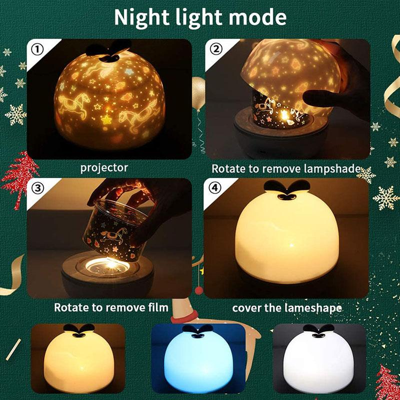 Rechargeable  Rotation Star  Night Lights Projector,6 Sets of Film rockiyo