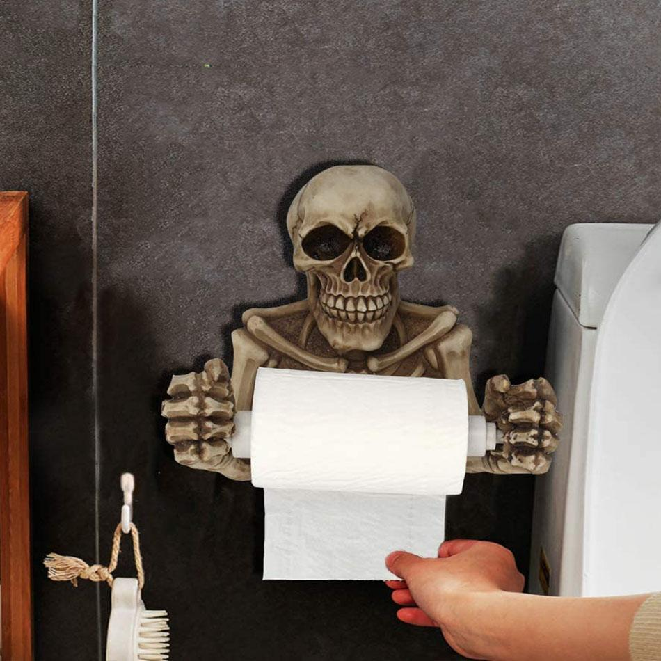 Skull Toilet Paper Holder Wall Mount rockiyo