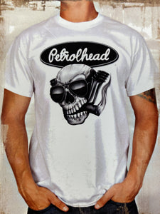 White cotton tee shirt with black signature Petrolhead logo