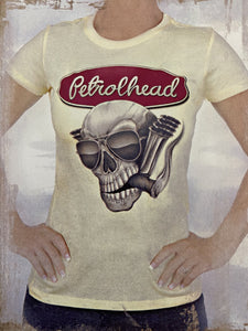 Yellow cotton babydoll tee with Petrolhead Skull logo