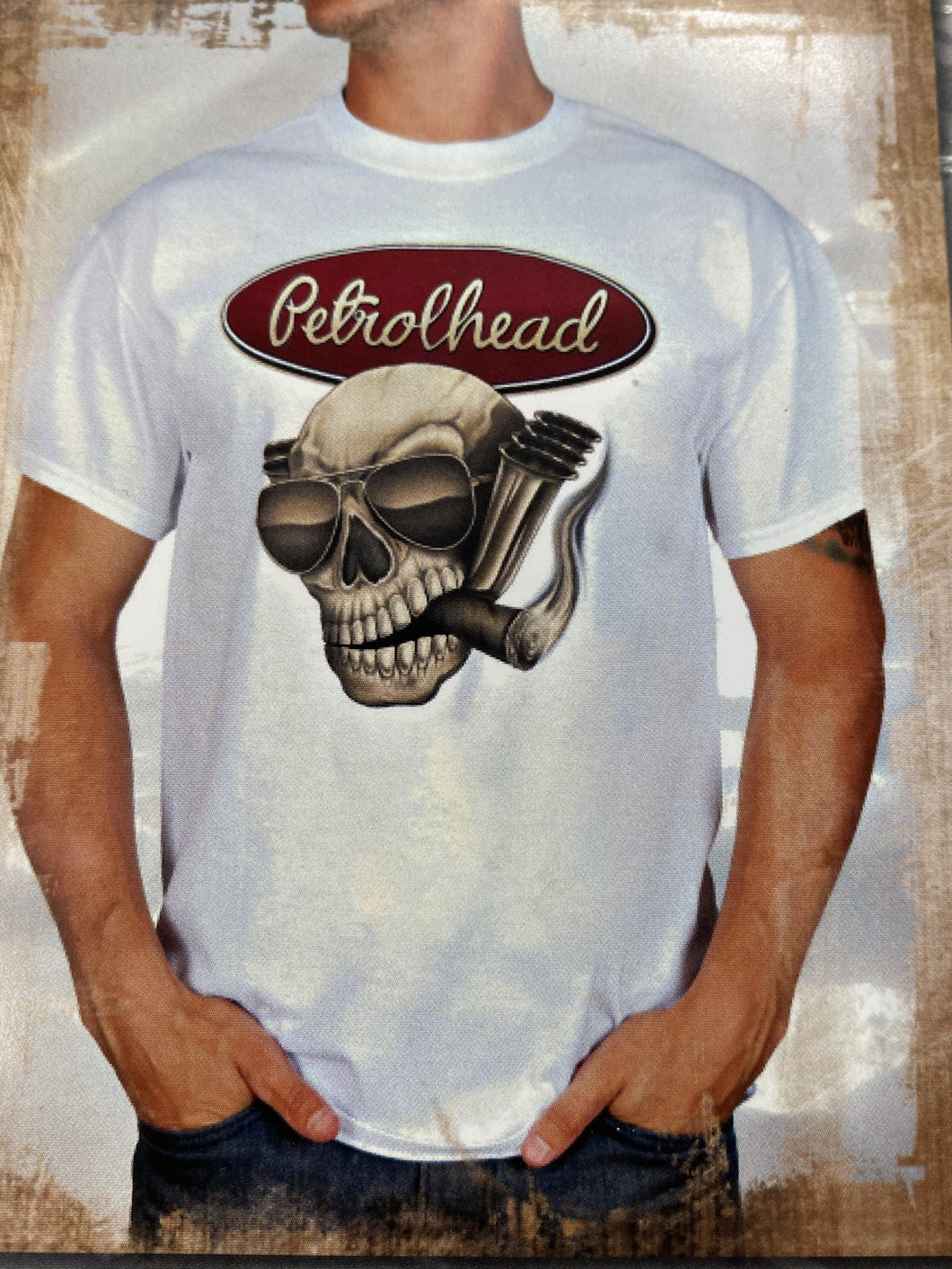 White cotton tee shirt with maroon signature Petrolhead logo