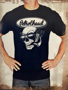 Black cotton tee shirt with white signature Petrolhead logo