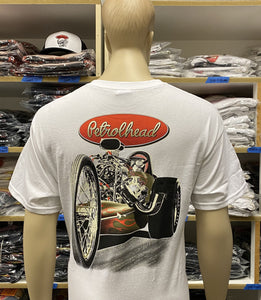 Men's White Petrolhead Front Engine Dragster Tee