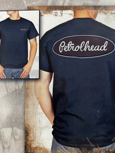 Black cotton tee shirt with maroon Petrolhead logo on back