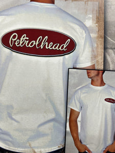 White cotton tee shirt with maroon Petrolhead logo on back