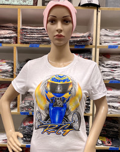 Ron Capps Fuel Altered Ladies Babydoll Tee White
