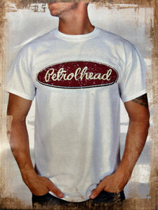 White cotton tee shirt with maroon vintage Petrolhead logo