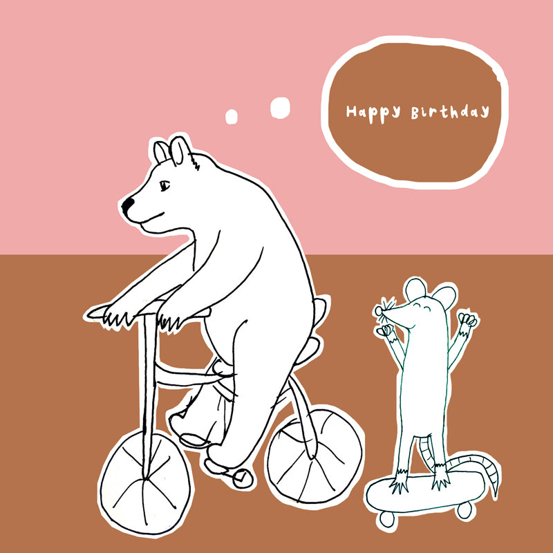 Animals on Wheels Birthday Greetings Card
