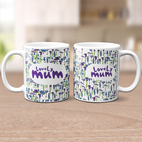 'Lovely Mum' Blue Floral Mug