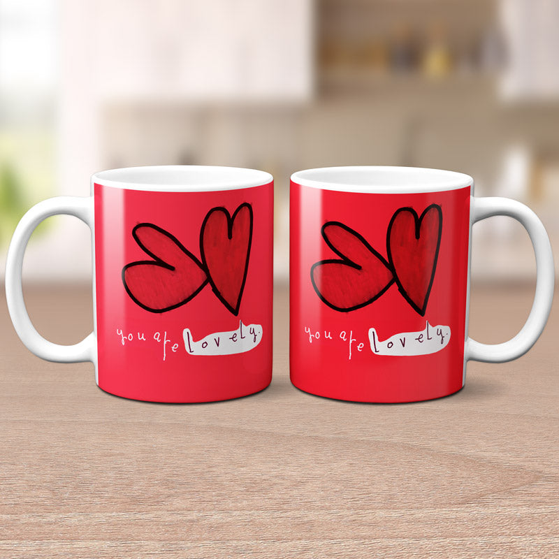 'You Are Lovely' Hearts Mug