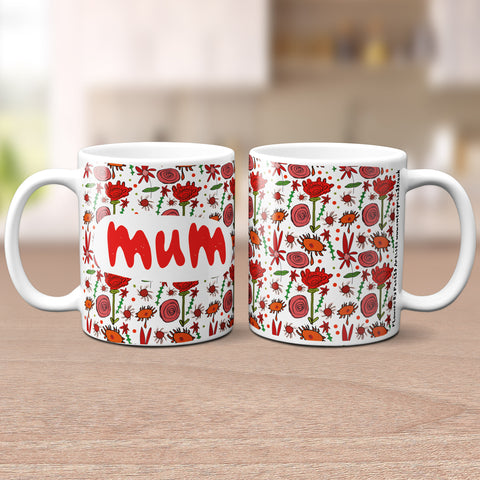 'Lovely Mum' Red Floral Mug