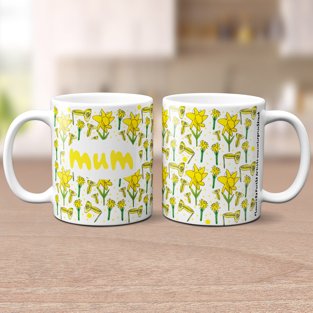 'Lovely Mum' Yellow Floral Mug