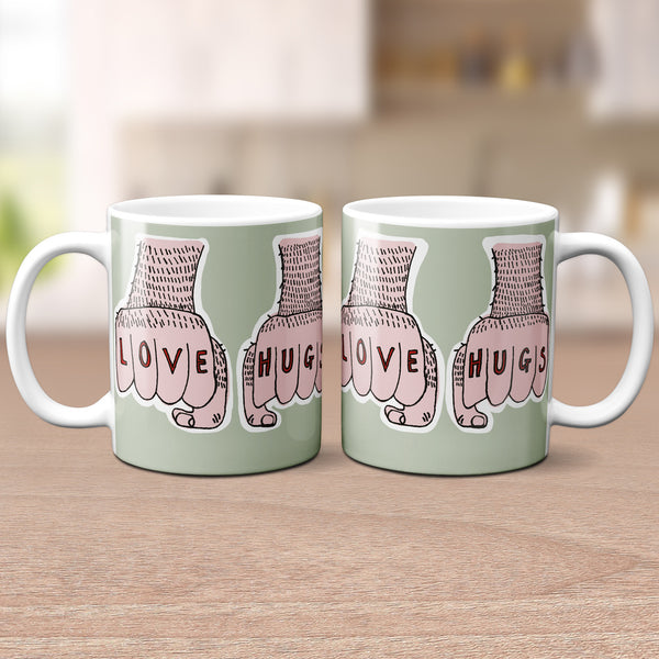 'Love Hugs' Tattooed Hands Mug