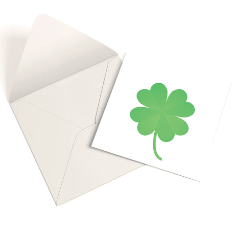 Good Luck Four Leaf Clover Greetings Card