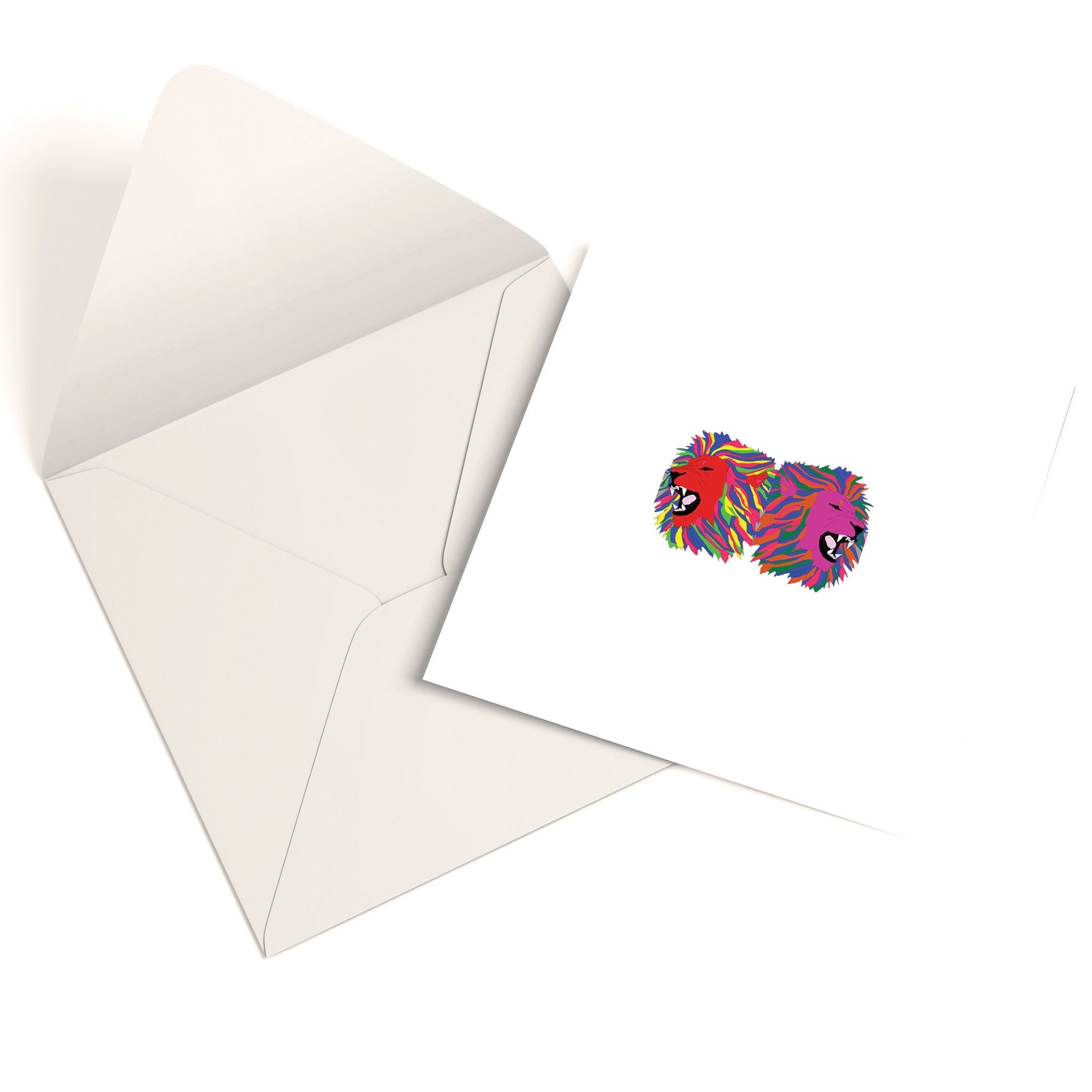 Colourful Geometric Lions Greetings Card