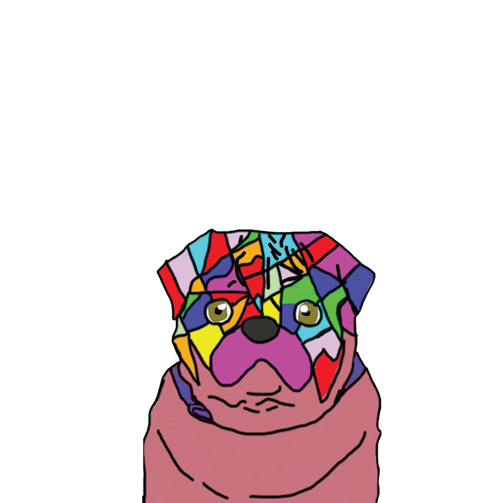 Colourful Geometric Pug Greetings Card