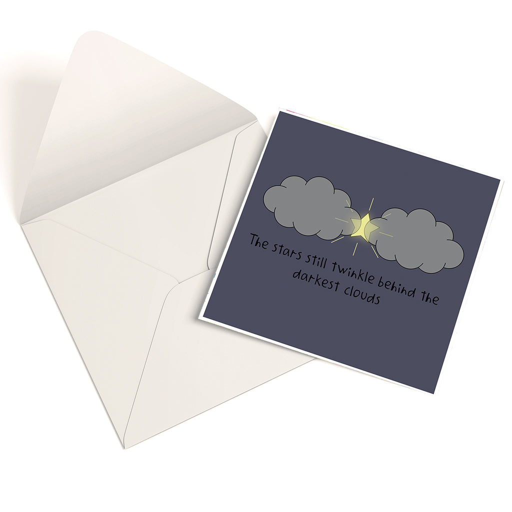 'The Stars Still Twinkle Behind The Darkest Clouds' Empathy Card (Blue Version)
