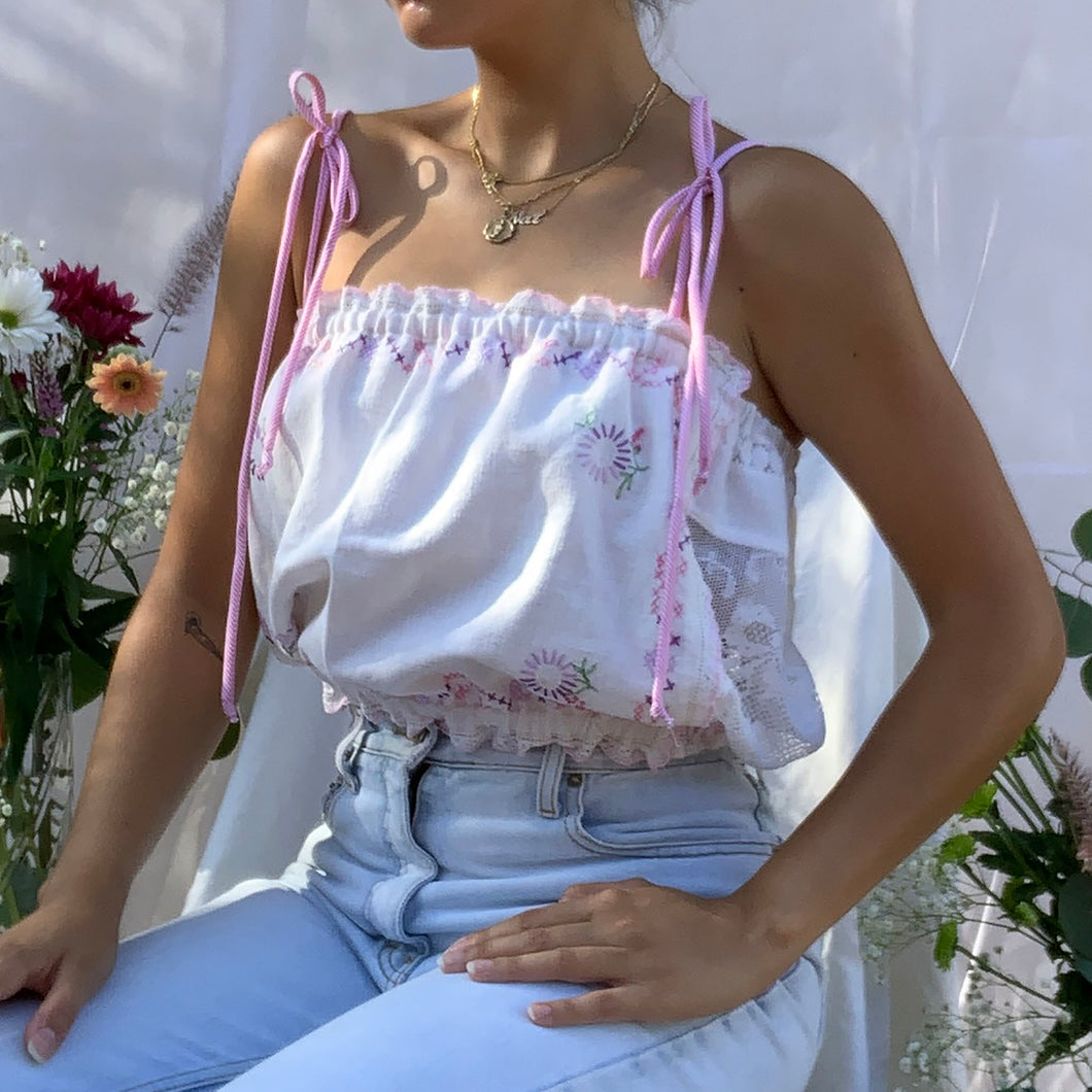Hanky Top with Pink Stripe Straps