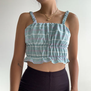 Scrunchie Top in Pastel Green/Purple Stripe