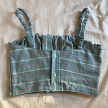 Load image into Gallery viewer, Scrunchie Top in Pastel Green/Purple Stripe