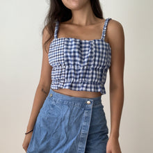 Load image into Gallery viewer, Patchwork Scrunchie Top in Multi Blue Check XS/S