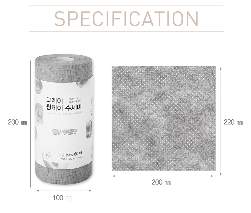 Dimensions oneday multiuse kitchen sponge roll Recommended for users to account for storage and clear up kitchen space before purchasing.