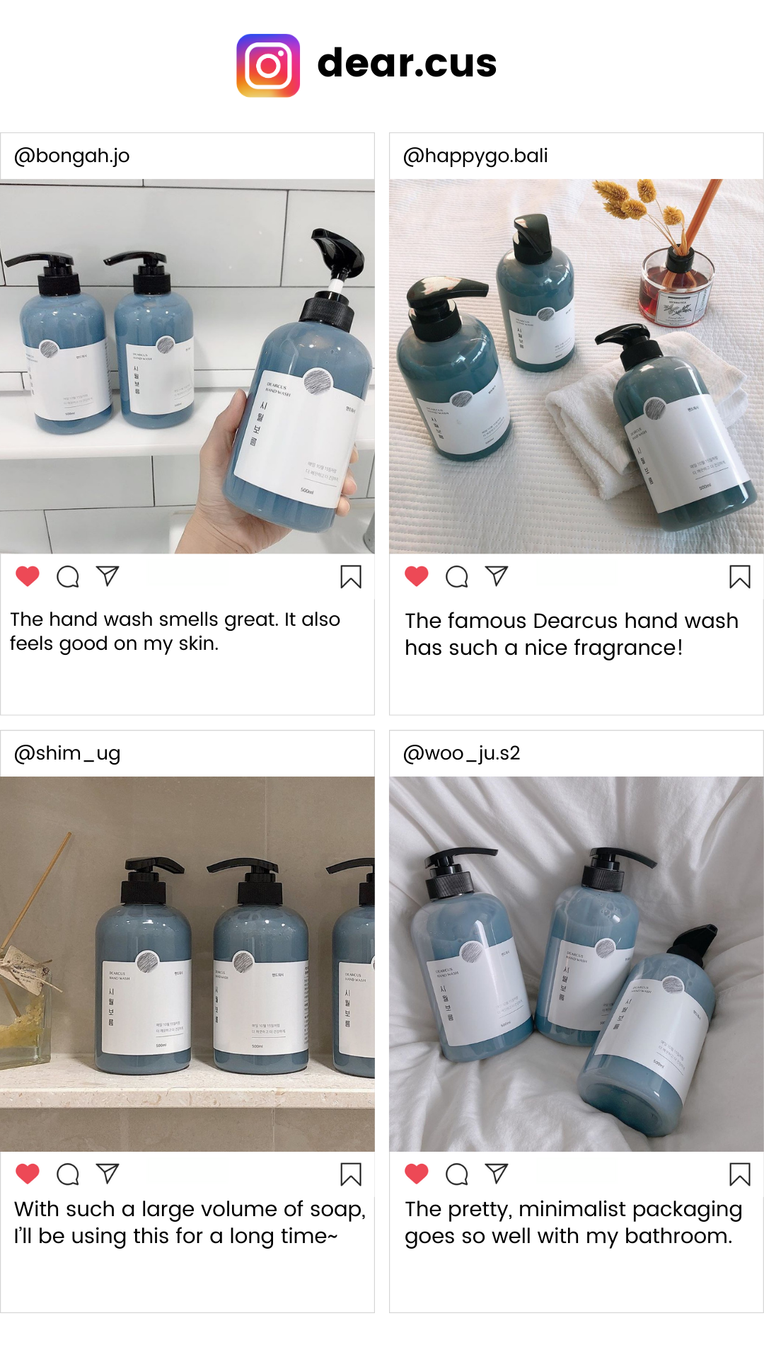 Authentic reviews of BlueBasket products from Korean customers on instagram