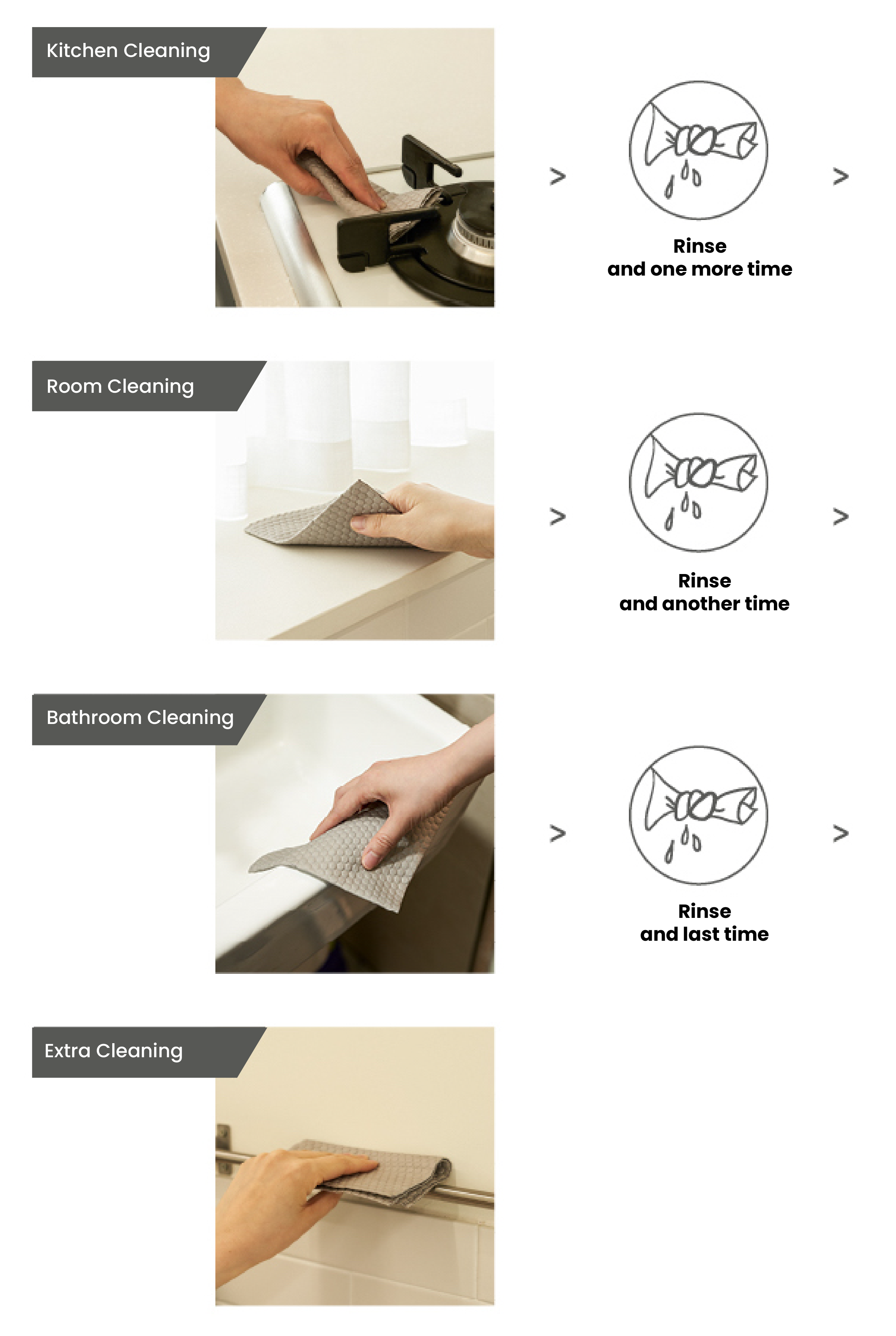 Demonstrating the various ways to use Dearcus ONEDAY Kitchen Towels. A versatile cleaning cloth that can be used to wipe dirt and grime off bathrooms, kitchens, and bedrooms.