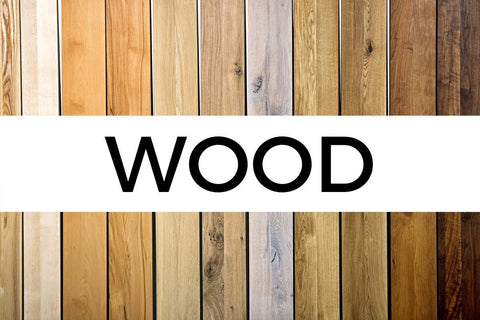 different kinds of wood with text overlay