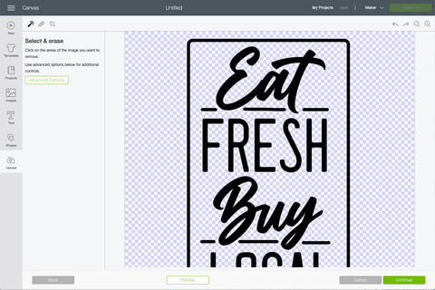 screenshot of editing svg image in cricut design space