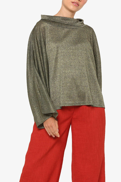 FW Glitter Oversized Draped Neck Blouse
