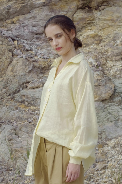 Oversized Shirt with Gathered Sleeves in Yellow