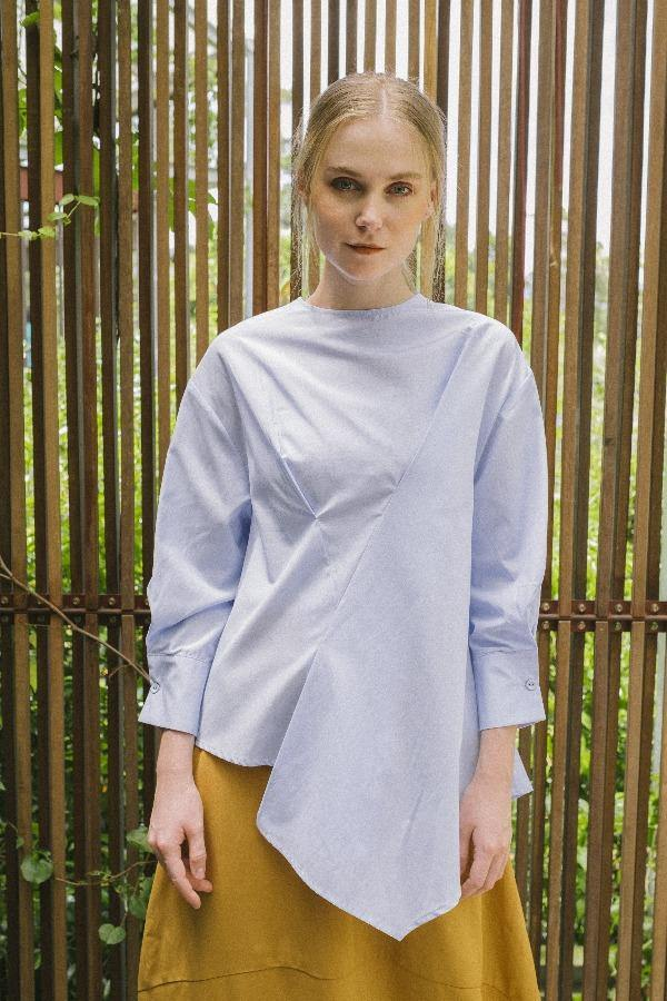 Asymmetric Blouse in Blue