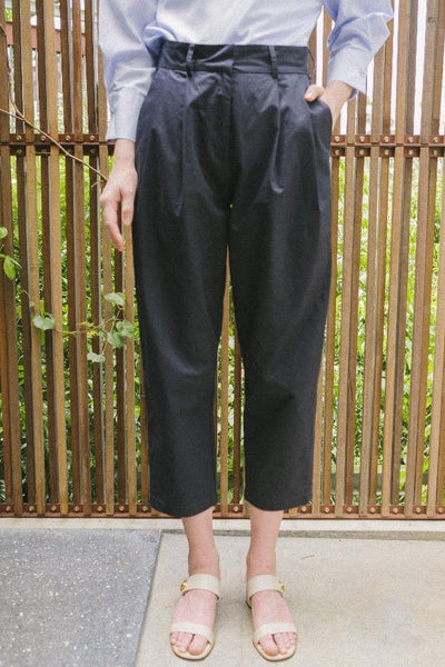 High Waisted Pleated Trousers in Navy