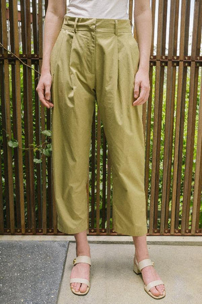 High Waisted Pleated Trousers in Brown