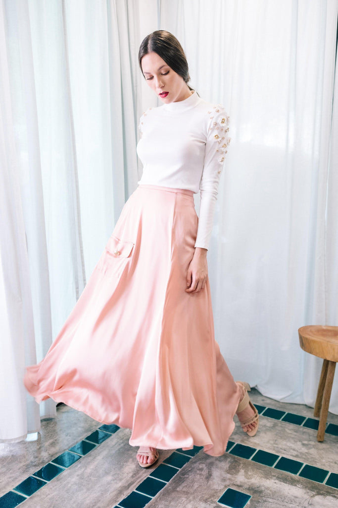 A-line plain skirt with side pocket in blush rose