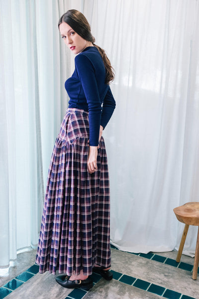 Yoke Waist Checkered Skirt in Blue