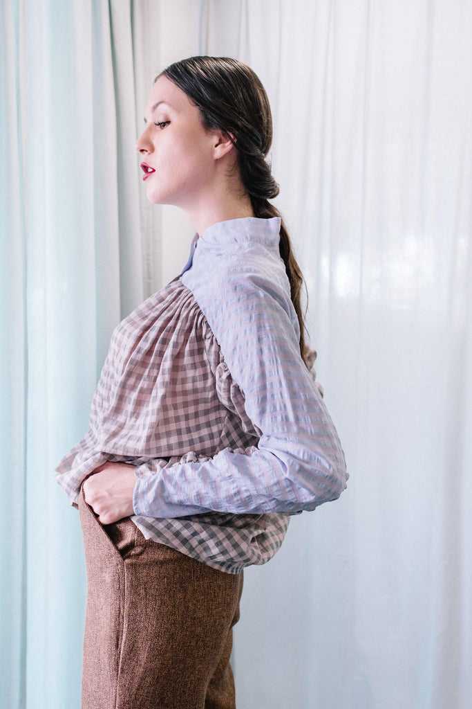 Checkered Top with Gathered Sleeves in Blue