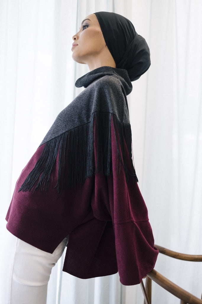 Wool Fringe Panel Sweater
