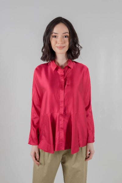 Draped Boxy Shirt in Fuschia