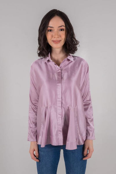 Draped Boxy Shirt in Lilac