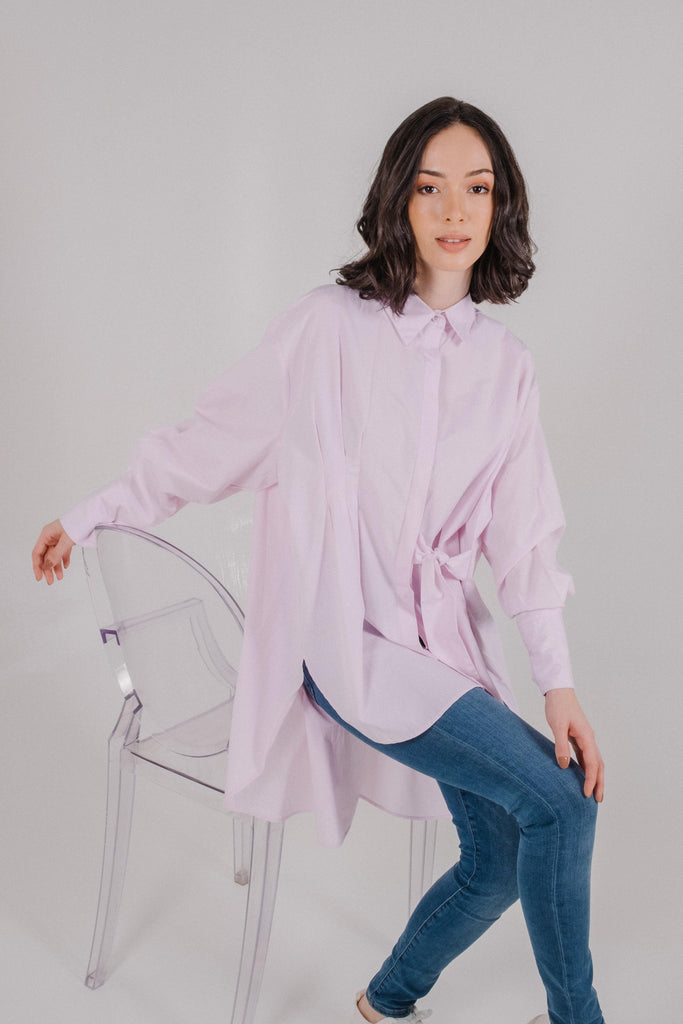 Pleated Waist Oversized Shirt in Soft Pink